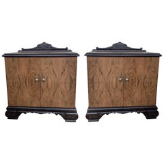 Pair of Mid-Century Modern Front Nightstands with Original Hardware