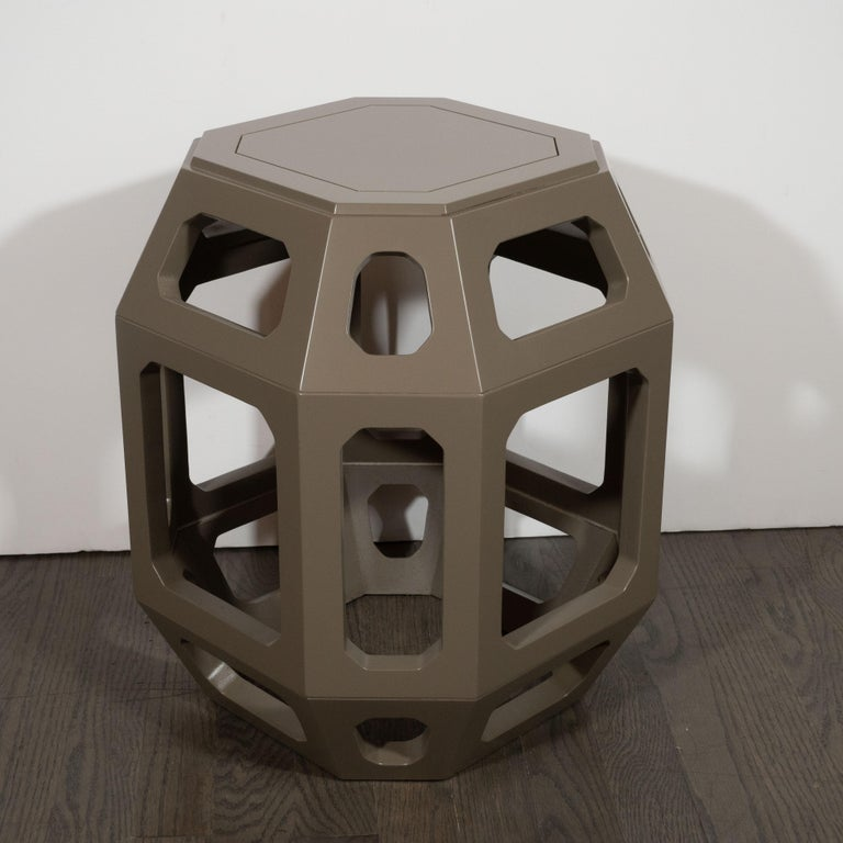 Mid-20th Century Pair of Mid-Century Modern Geometric Cut Out Gray Lacquered Stools For Sale