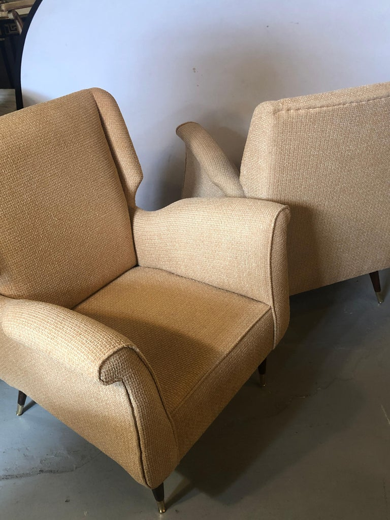 Pair of Mid-Century Modern Gio Ponti Style Arm, Bergère or Wingback Chairs For Sale 5