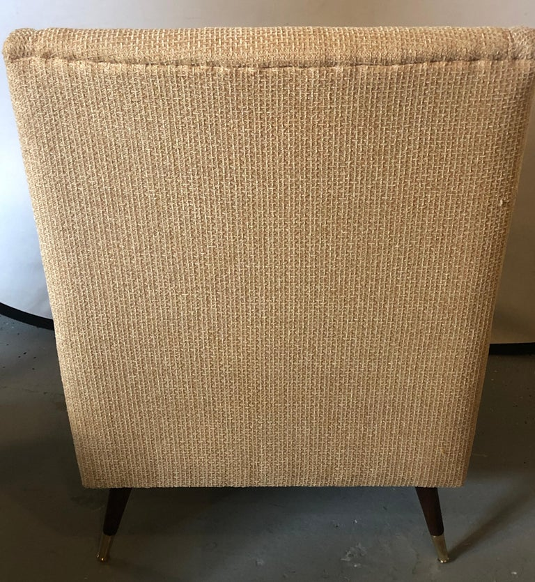 Pair of Mid-Century Modern Gio Ponti Style Arm, Bergère or Wingback Chairs For Sale 6