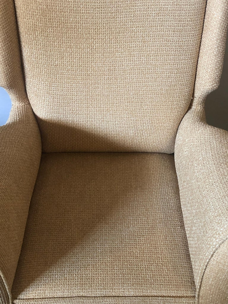 Fabric Pair of Mid-Century Modern Gio Ponti Style Arm, Bergère or Wingback Chairs For Sale