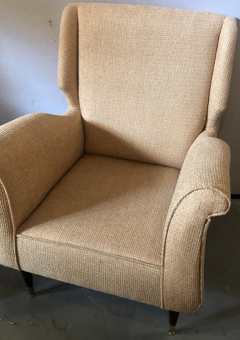 Pair of Mid-Century Modern Gio Ponti Style Arm, Bergère or Wingback Chairs For Sale 3