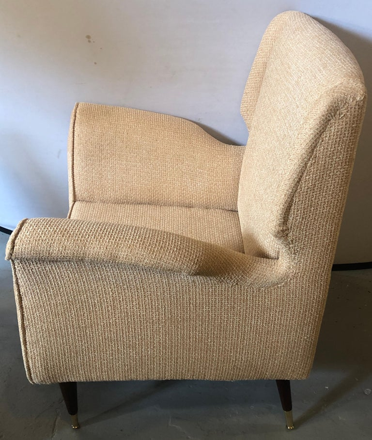Pair of Mid-Century Modern Gio Ponti Style Arm, Bergère or Wingback Chairs For Sale 4
