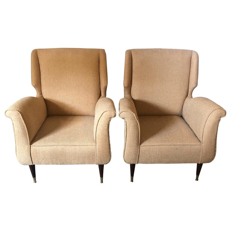 Pair of Mid-Century Modern Gio Ponti Style Arm, Bergère or Wingback Chairs For Sale