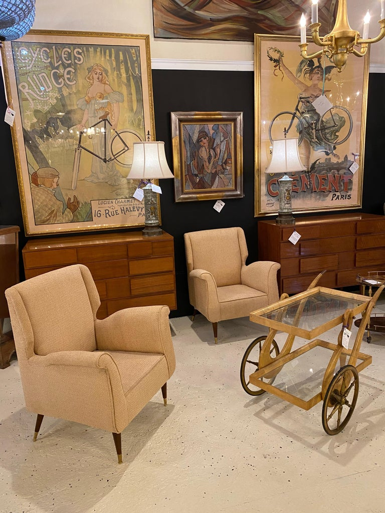 Pair of Mid-Century Modern Gio Ponti Style Arm, Bergère or Wingback Chairs For Sale 9