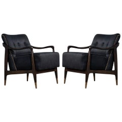 Pair of Mid-Century Modern Gio Ponti Style Arm Club Chairs