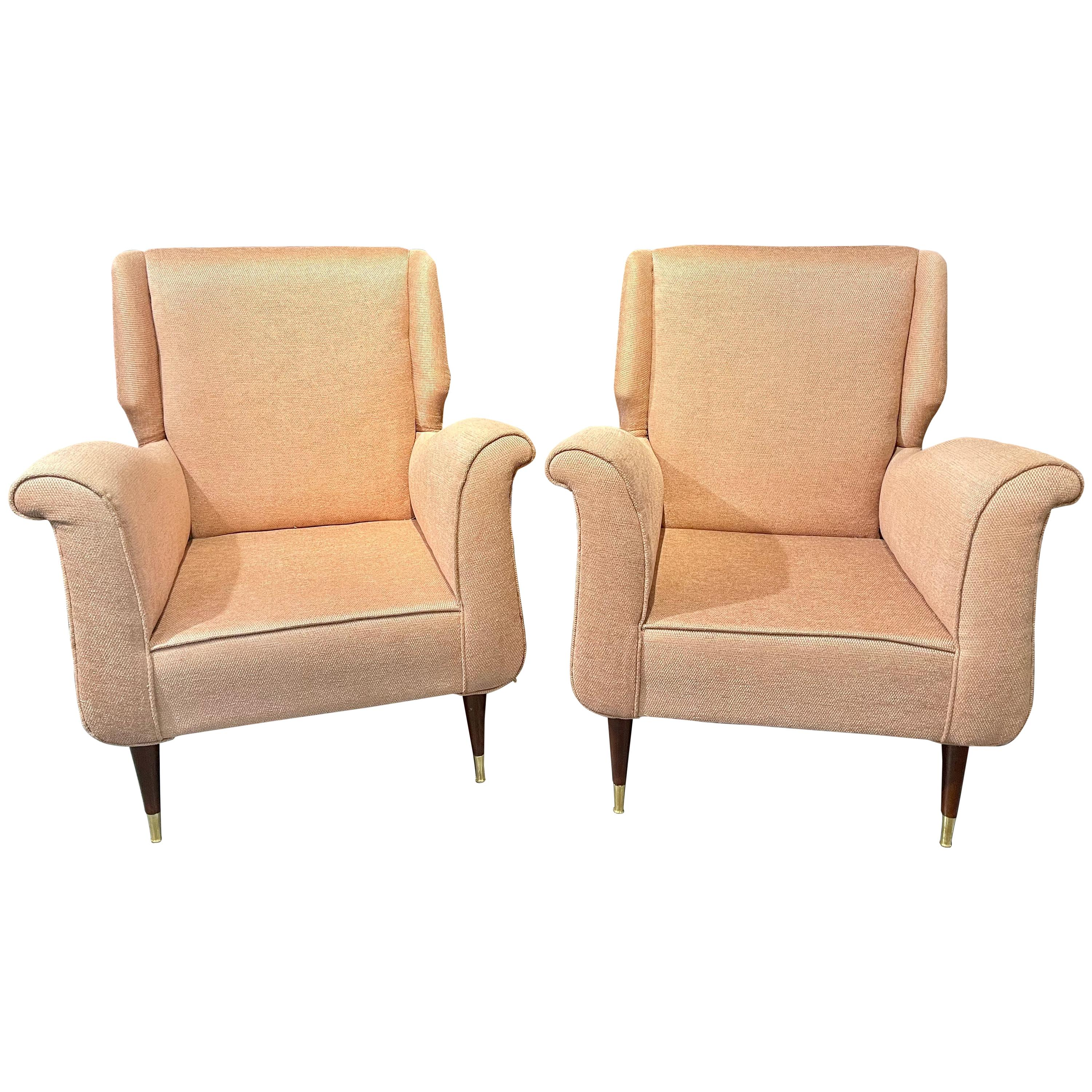 Pair of Mid-Century Modern Gio Ponti Style Armchairs / Wingback Chairs