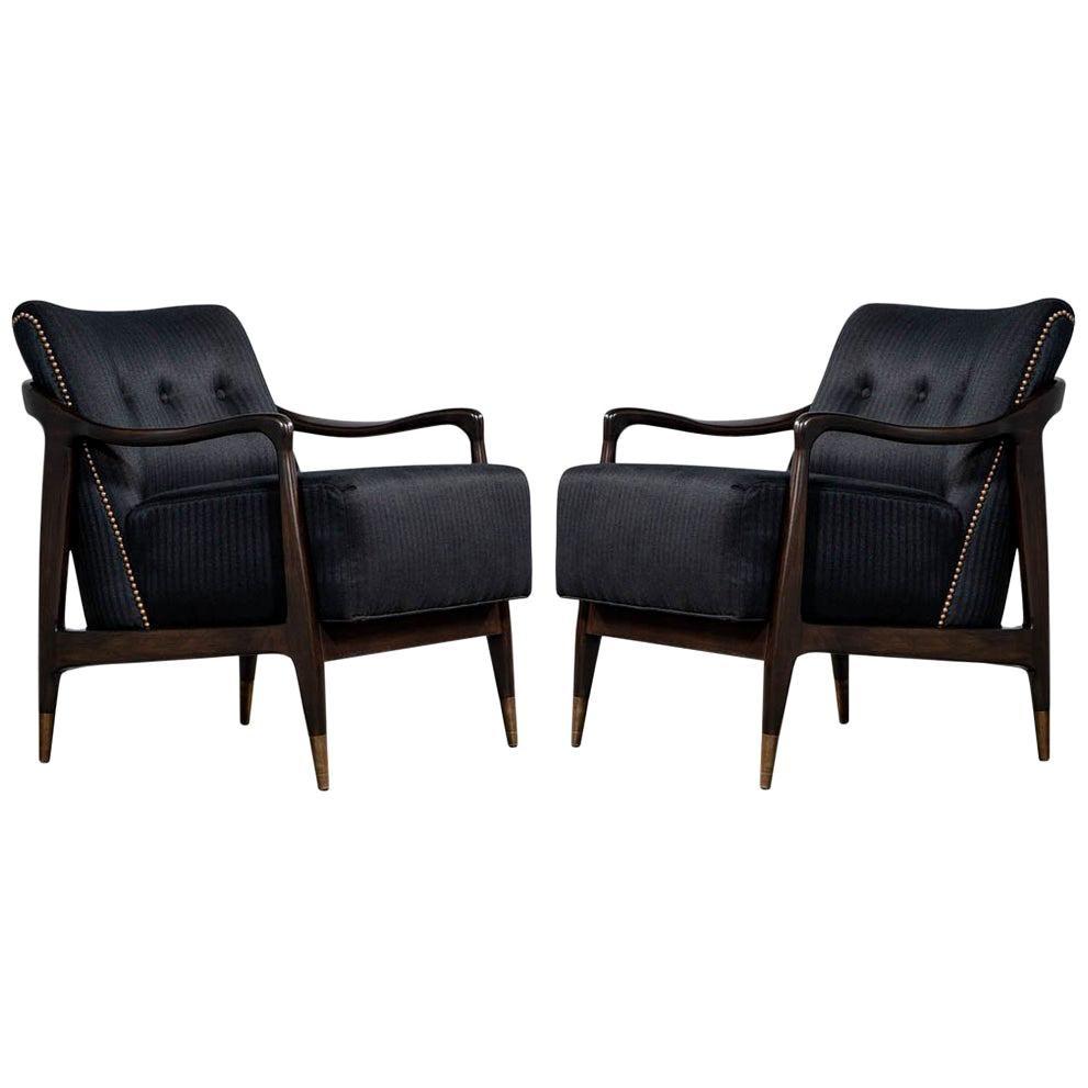 Pair of Mid-Century Modern Gio Ponti Style Club Chairs