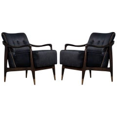 Pair of Mid-Century Modern Gio Ponti Style Club Chairs