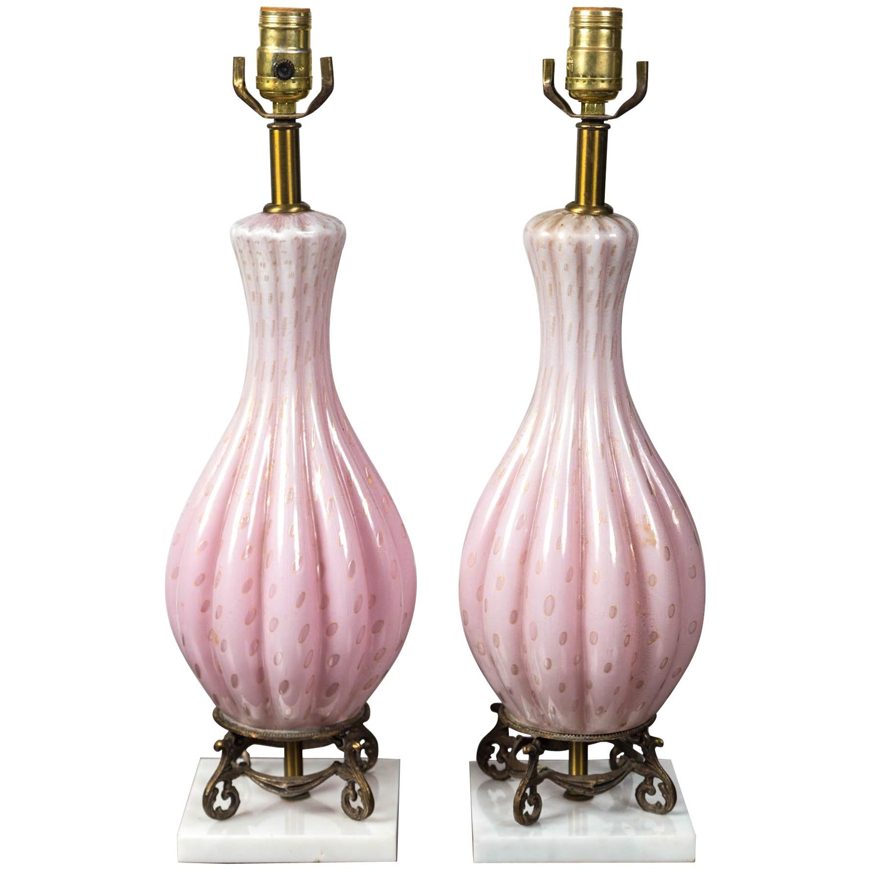 Pair of Mid-Century Modern Glass Table Lamps