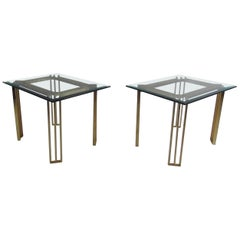 Pair of Italian Mid-Century Modern Glass Top End Tables