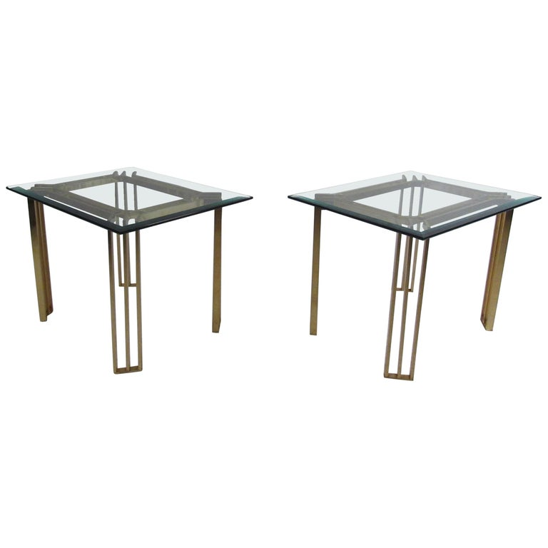 Cool Pair Of Italian Mid Century Modern Glass Top End Tables Download Free Architecture Designs Grimeyleaguecom