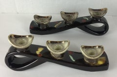 Pair of Mid-Century Modern Glazed Ceramic Candleholders, Vallauris