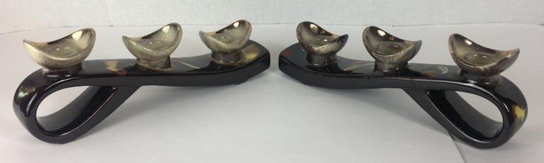 20th Century Pair of Mid-Century Modern Glazed Ceramic Candleholders, Vallauris For Sale