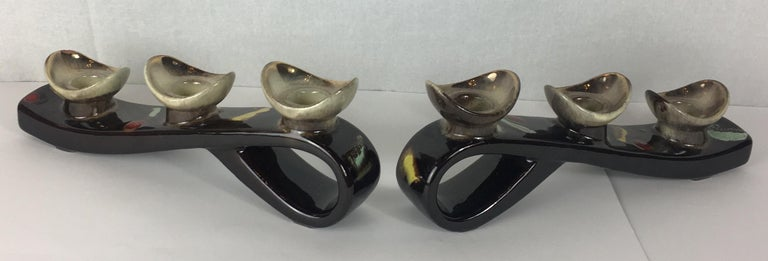 Pair of Mid-Century Modern Glazed Ceramic Candleholders, Vallauris For Sale 1