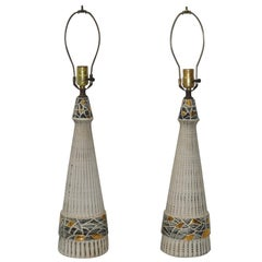 Pair of Mid-Century Modern Glazed Ceramic Table Lamps, circa 1950s