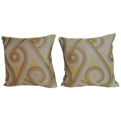 Pair of Mid-Century Modern Gold and Yellow Decorative Pillows
