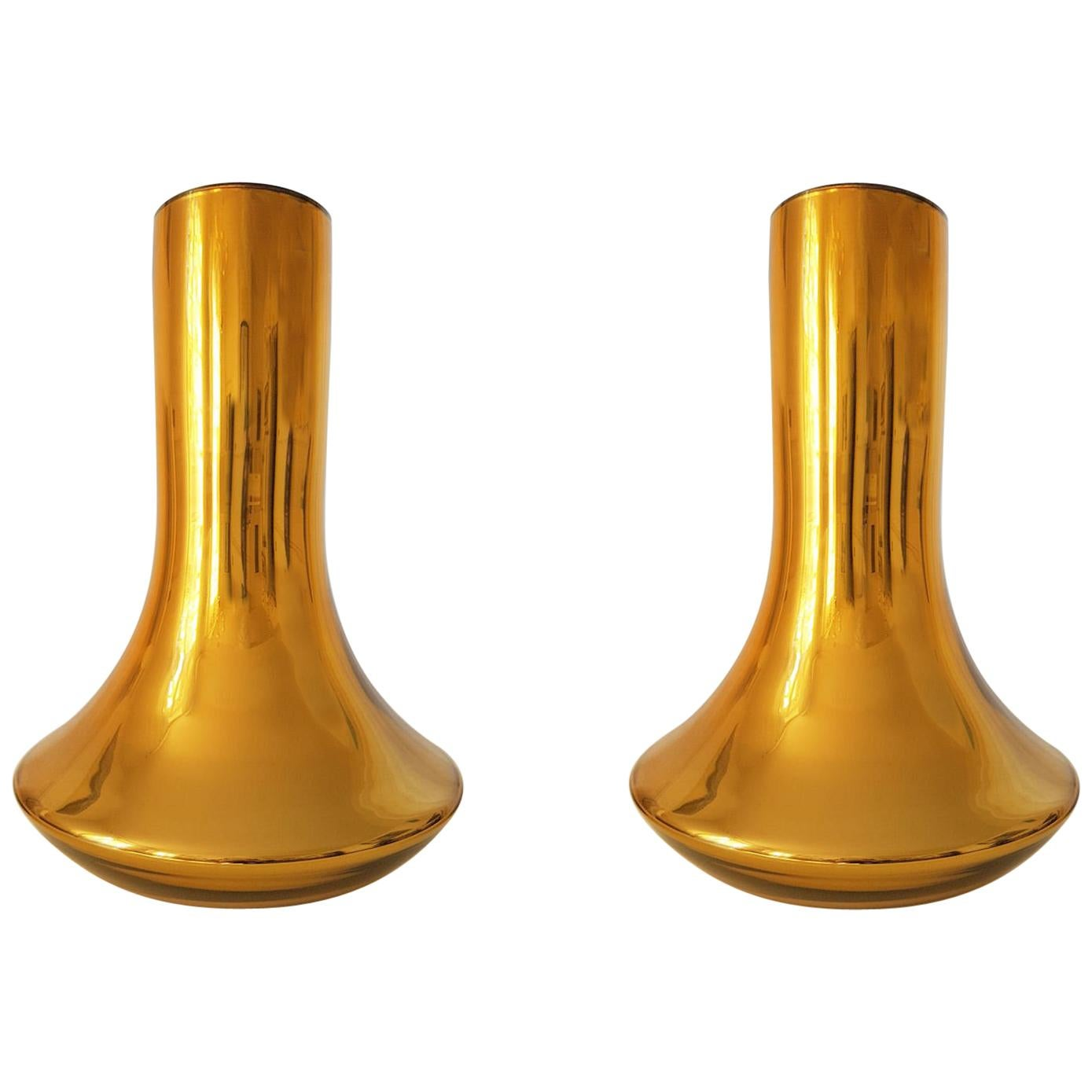 Pair of Mid-Century Modern Gold Mirrored Murano Glass Large Vases, Italy 1980s