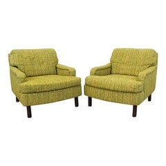 Pair of Mid-Century Modern Green Lounge Club Chairs
