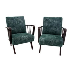 Two midcentury modern, Green Retro Armchairs, 1960s