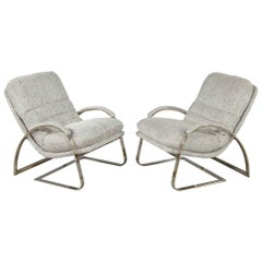 Pair of Mid-Century Modern Grey Lounge Chairs