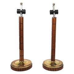 Pair of Mid-Century Modern Gruvwood Table Lamps