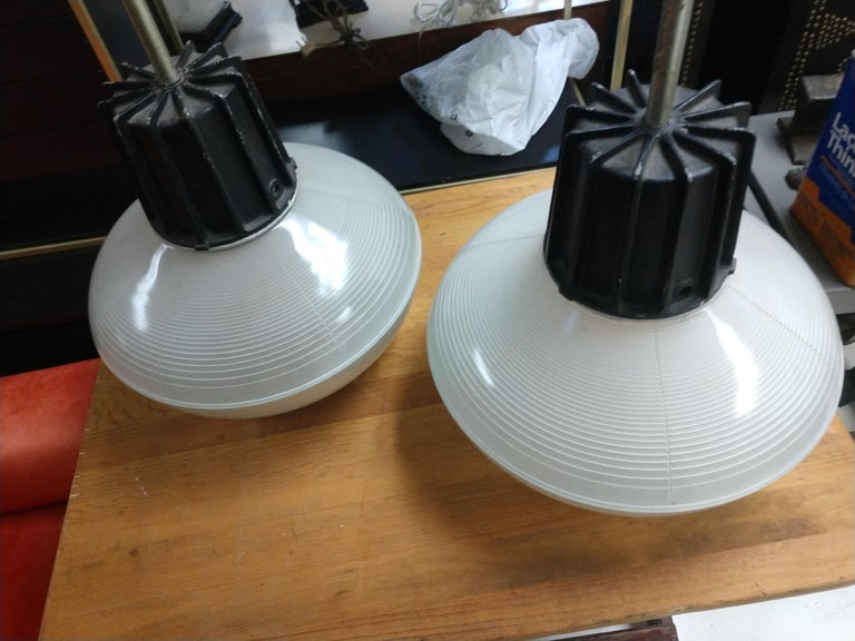 Pair of Mid-Century Modern C1955 Halophane Industrial Lamps For Sale 3