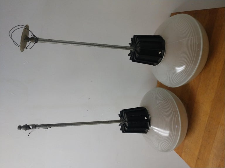 Pressed Pair of Mid-Century Modern C1955 Halophane Industrial Lamps For Sale
