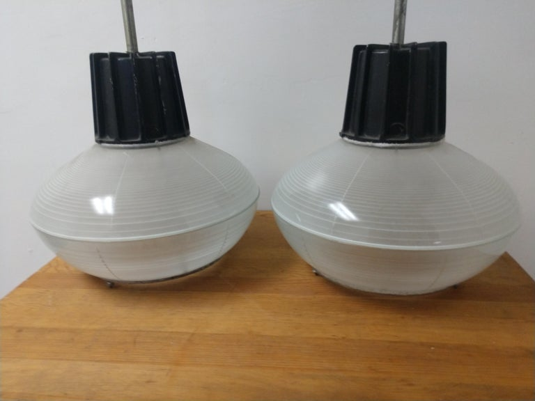 Pair of Mid-Century Modern C1955 Halophane Industrial Lamps In Good Condition For Sale In Port Jervis, NY