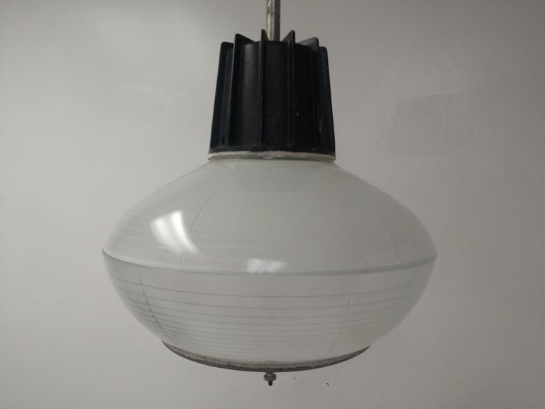 Pair of Mid-Century Modern C1955 Halophane Industrial Lamps For Sale 2