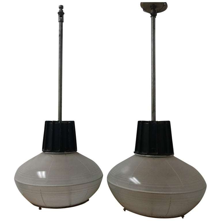 Pair of Mid-Century Modern C1955 Halophane Industrial Lamps For Sale