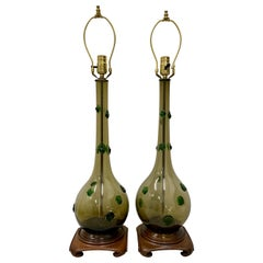Pair of Mid-Century Modern Hand Blown Glass Lamps with Green Prunt Drops