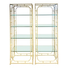 Pair of Mid-Century Modern Hand Painted White Metal Étagères with Four Shelves