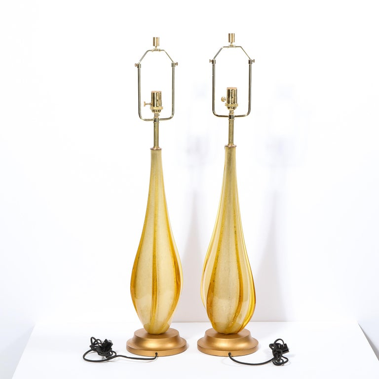 Pair of Mid-Century Modern Handblown Murano Table Lamps with Brass Fittings For Sale 5