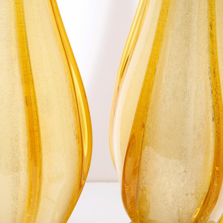 Pair of Mid-Century Modern Handblown Murano Table Lamps with Brass Fittings For Sale 6