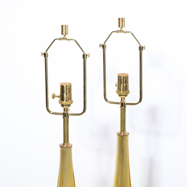 Pair of Mid-Century Modern Handblown Murano Table Lamps with Brass Fittings For Sale 7