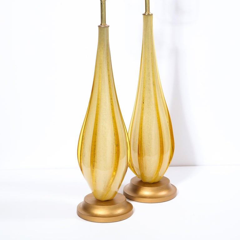 Mid-20th Century Pair of Mid-Century Modern Handblown Murano Table Lamps with Brass Fittings For Sale