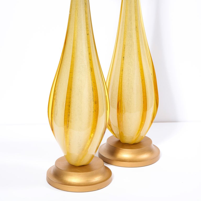 Pair of Mid-Century Modern Handblown Murano Table Lamps with Brass Fittings For Sale 1
