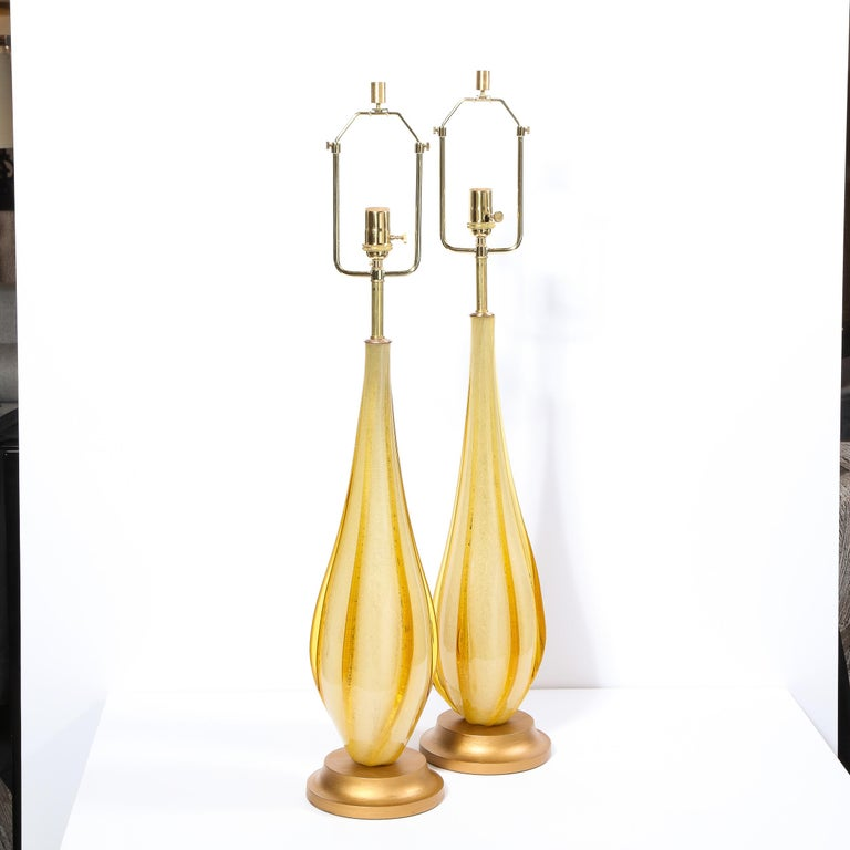 Pair of Mid-Century Modern Handblown Murano Table Lamps with Brass Fittings For Sale 2