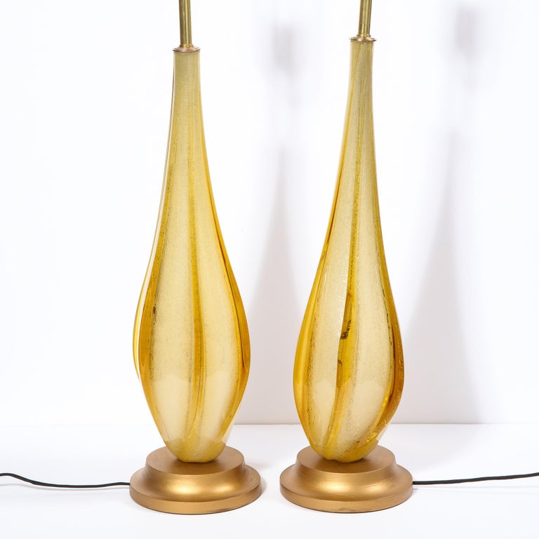 Pair of Mid-Century Modern Handblown Murano Table Lamps with Brass Fittings For Sale 3