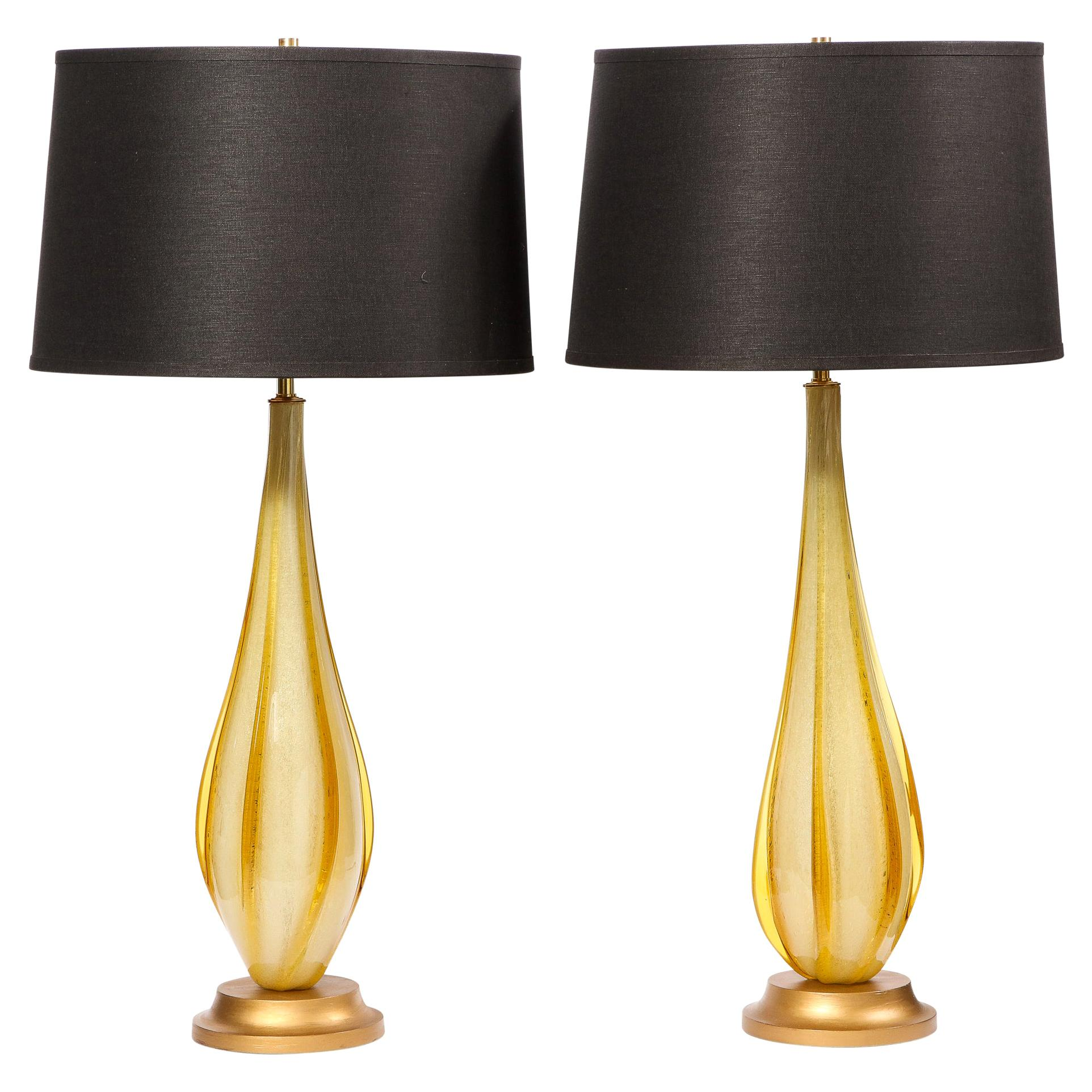Pair of Mid-Century Modern Handblown Murano Table Lamps with Brass Fittings
