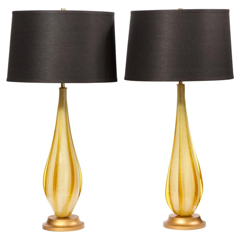 Pair of Mid-Century Modern Handblown Murano Table Lamps with Brass Fittings For Sale