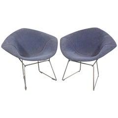Pair of Mid-Century Modern Harry Bertoia for Knoll Chrome Diamond Chairs