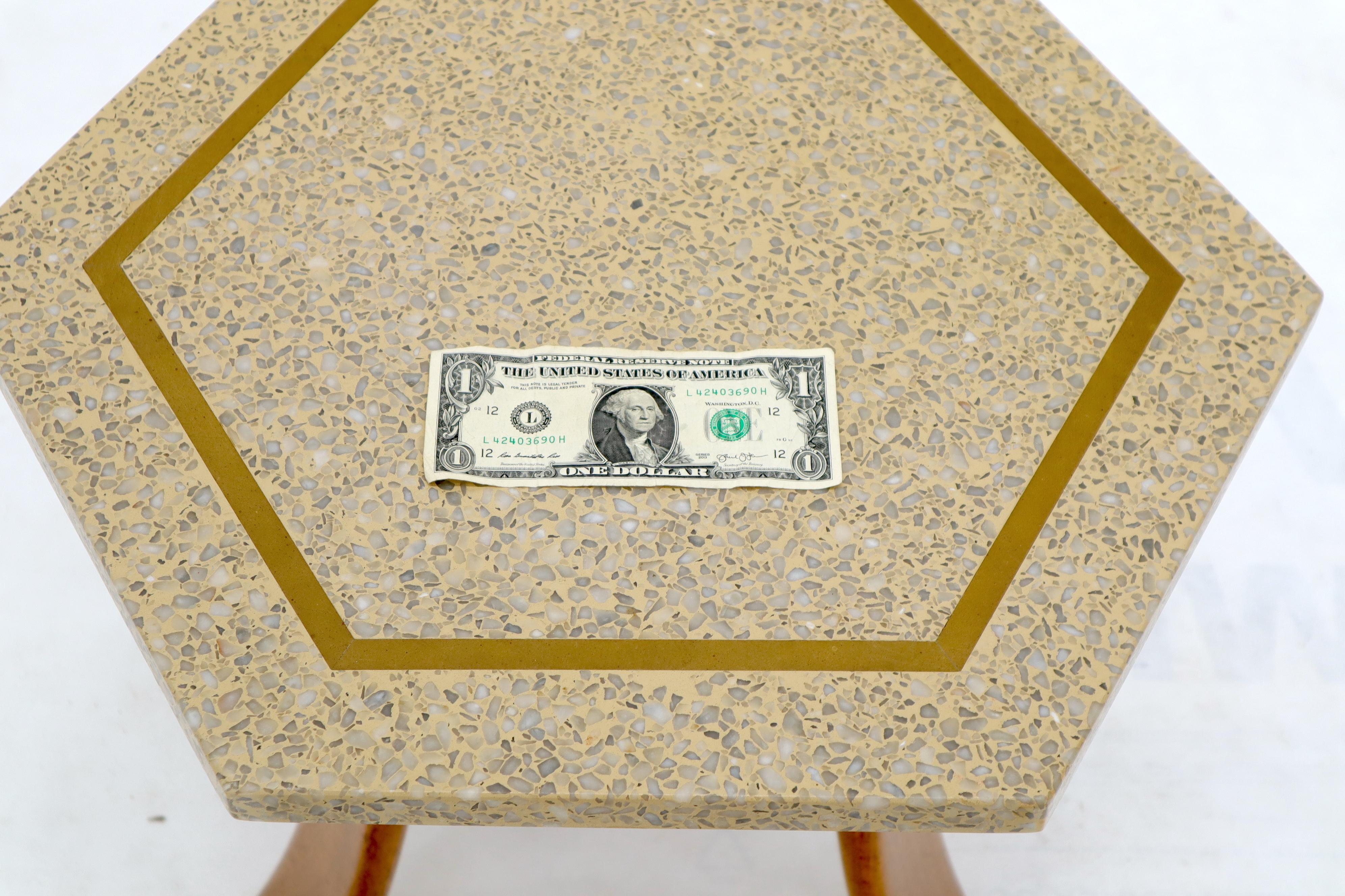 Pair Of Mid Century Modern Harvey Probber Terrazzo Hexagonal Side End Tables