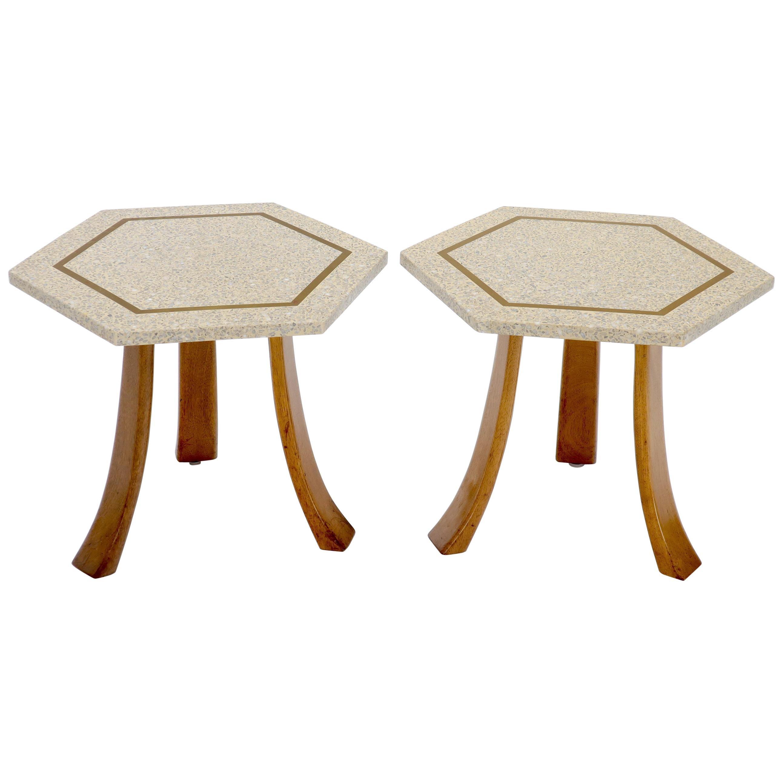 Pair of Mid-Century Modern Harvey Probber Terrazzo Hexagonal Side End Tables