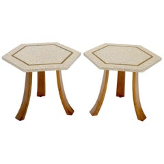 Pair of Mid-Century Modern Harvey Probber Terrazzo Hexagonal Side End Tables