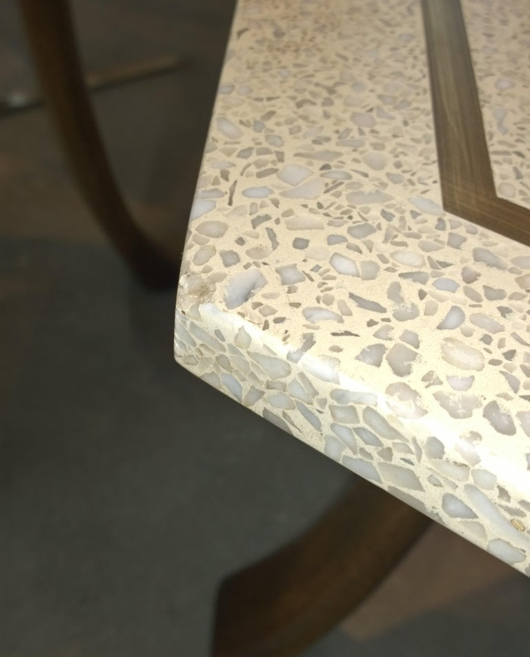 Pair of Probber Blue, White, Brown and Gold Terrazzo Mahogany Tripod Side Tables For Sale 12