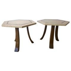 Pair of Mid-Century Modern Harvey Probber Terrazzo Mahogany Tripod Side Tables