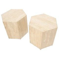 Pair of Mid-Century Modern Hexagon Shape Travertine Marble End Tables Pedestals