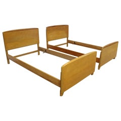 Pair of Mid-Century Modern Heywood Wakefield Twin Size Bed Frames